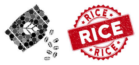 Mosaic sow seed pack and grunge stamp seal with Rice text. Mosaic vector is formed with sow seed pack icon and with randomized spheric elements. Rice stamp seal uses red color, and grunge texture.