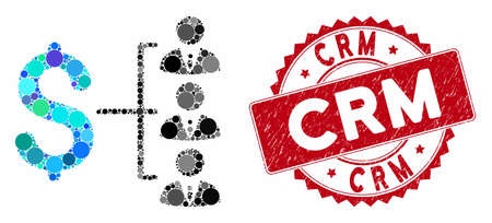 Collage staff payment and distressed stamp seal with Crm phrase. Mosaic vector is formed with staff payment icon and with randomized spheric spots. Crm stamp seal uses red color, and grunged design. Çizim