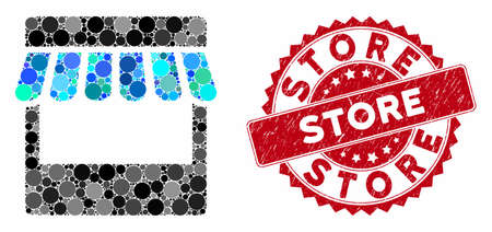 Mosaic store and distressed stamp watermark with Store text. Mosaic vector is designed with store icon and with randomized circle items. Store stamp uses red color, and distress design.