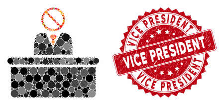 Collage stupid clerk and rubber stamp watermark with Vice President caption. Mosaic vector is designed with stupid clerk icon and with scattered round items. Vice President stamp seal uses red color, Illusztráció