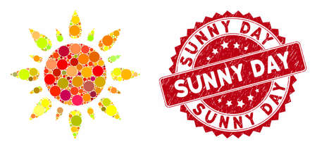 Mosaic sun light and distressed stamp watermark with Sunny Day phrase. Mosaic vector is formed with sun light icon and with scattered round items. Sunny Day stamp seal uses red color,