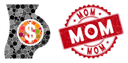 Mosaic surrogacy and rubber stamp seal with Mom text. Mosaic vector is composed with surrogacy icon and with randomized spheric items. Mom stamp seal uses red color, and grunge design.