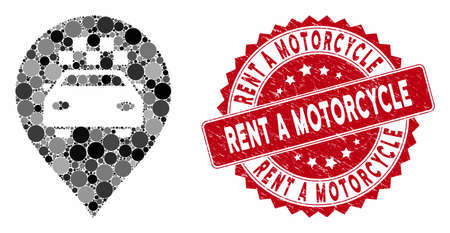 Mosaic taxi car marker and rubber stamp seal with Rent a Motorcycle phrase. Mosaic vector is designed with taxi car marker icon and with random circle spots.
