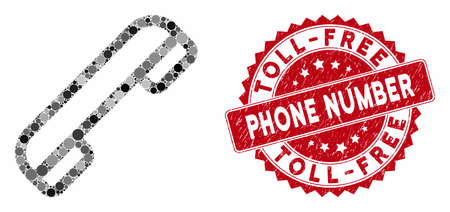 Mosaic telephone and corroded stamp seal with Toll-Free Phone Number phrase. Mosaic vector is composed with telephone icon and with random spheric elements. Иллюстрация