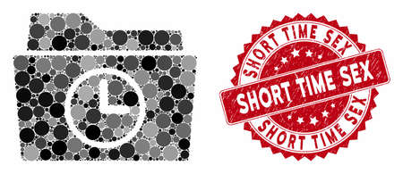 Mosaic temporary folder and rubber stamp seal with Short Time Sex text. Mosaic vector is formed with temporary folder icon and with scattered round spots. Short Time Sex stamp seal uses red color,
