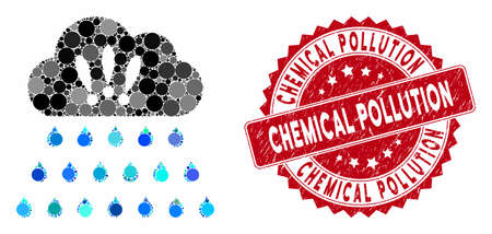 Mosaic thunderstorm rain cloud and distressed stamp seal with Chemical Pollution phrase. Mosaic vector is formed with thunderstorm rain cloud icon and with random spheric elements.
