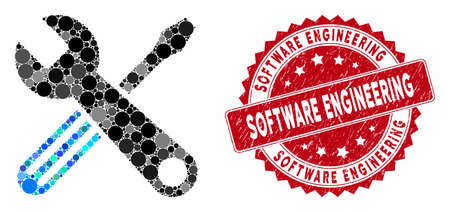 Mosaic tools and grunge stamp seal with Software Engineering text. Mosaic vector is formed with tools icon and with scattered circle elements. Software Engineering stamp seal uses red color, Illusztráció