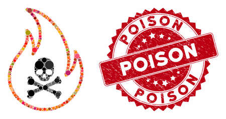 Mosaic toxic fire and corroded stamp seal with Poison caption. Mosaic vector is formed with toxic fire icon and with scattered circle elements. Poison stamp seal uses red color, and distress texture.