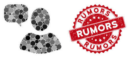 Mosaic user opinion and grunge stamp seal with Rumors phrase. Mosaic vector is formed with user opinion icon and with random spheric spots. Rumors seal uses red color, and scratched design.
