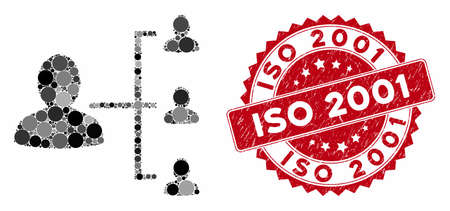Collage user scheme and grunge stamp watermark with ISO 2001 phrase. Mosaic vector is formed with user scheme icon and with scattered circle elements. ISO 2001 stamp seal uses red color,