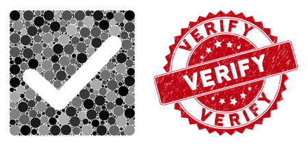 Mosaic valid tick and grunge stamp watermark with Verify text. Mosaic vector is designed with valid tick icon and with randomized round spots. Verify stamp uses red color, and rubber design.