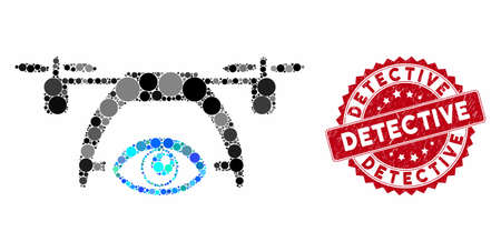 Mosaic video spy drone and rubber stamp watermark with Detective caption. Mosaic vector is created with video spy drone icon and with random spheric spots. Detective stamp seal uses red color,