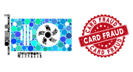 Mosaic videocard and distressed stamp seal with Card Fraud caption. Mosaic vector is composed with videocard icon and with random circle spots. Card Fraud seal uses red color, and rubber texture.