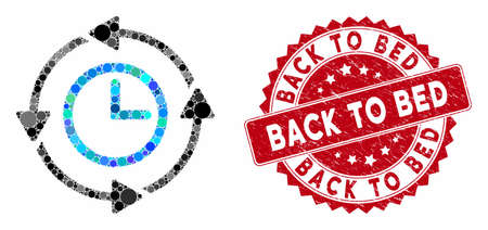 Collage wayback clock and grunge stamp seal with Back to Bed caption. Mosaic vector is composed from wayback clock icon and with random spheric spots. Back to Bed stamp seal uses red color,