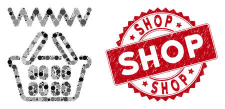 Collage web shop basket and corroded stamp seal with Shop caption. Mosaic vector is created with web shop basket icon and with scattered round spots. Shop stamp seal uses red color,