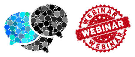 Mosaic webinar and distressed stamp seal with Webinar caption. Mosaic vector is formed with webinar icon and with randomized round elements. Webinar seal uses red color, and rubber design. Ilustração