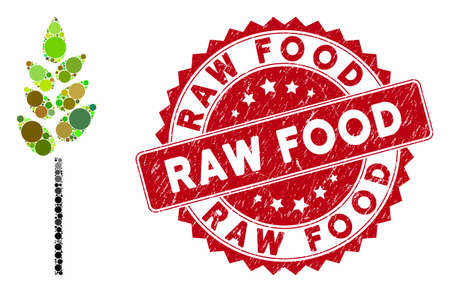 Mosaic wheat ear and rubber stamp watermark with Raw Food phrase. Mosaic vector is formed with wheat ear icon and with scattered spheric elements. Raw Food stamp uses red color, and dirty surface.