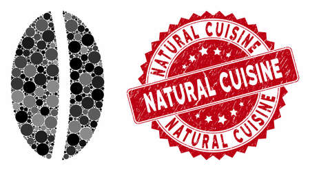 Mosaic wheat seed and grunge stamp seal with Natural Cuisine phrase. Mosaic vector is composed with wheat seed icon and with scattered circle items. Natural Cuisine stamp seal uses red color, Ilustração