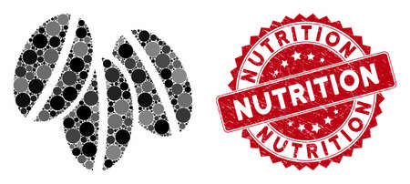 Mosaic wheat seeds and grunge stamp watermark with Nutrition caption. Mosaic vector is created with wheat seeds icon and with randomized round spots. Nutrition stamp seal uses red color,