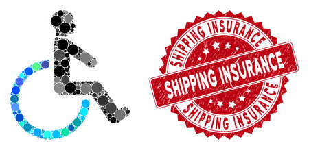 Mosaic wheelchair and corroded stamp seal with Shipping Insurance caption. Mosaic vector is designed from wheelchair icon and with random circle spots. Shipping Insurance stamp seal uses red color,