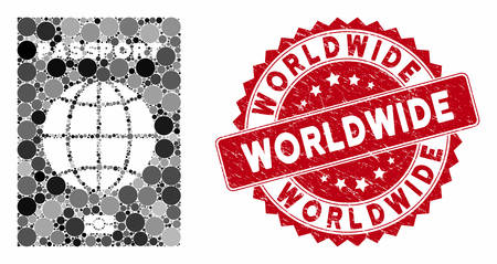 Mosaic world passport and distressed stamp seal with Worldwide text. Mosaic vector is composed from world passport icon and with scattered circle spots. Worldwide stamp seal uses red color,