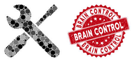 Collage wrench and screwdriver tools and corroded stamp seal with Brain Control phrase. Mosaic vector is formed with wrench and screwdriver tools icon and with scattered circle spots.