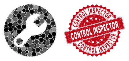 Mosaic wrench and grunge stamp seal with Control Inspector caption. Mosaic vector is composed with wrench icon and with random circle spots. Control Inspector seal uses red color, and grunge design.