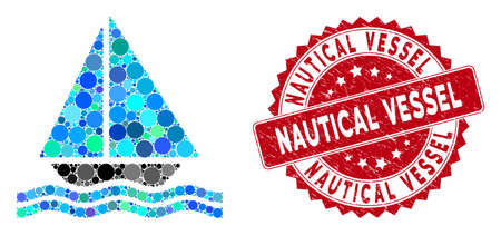 Mosaic yacht and rubber stamp seal with Nautical Vessel caption. Mosaic vector is designed with yacht icon and with random spheric elements. Nautical Vessel stamp uses red color, and rubber surface.