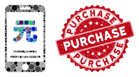Mosaic yuan mobile payment and corroded stamp seal with Purchase caption. Mosaic vector is designed with yuan mobile payment icon and with scattered circle items. Purchase stamp seal uses red color, Ilustração