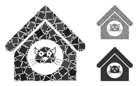 Cat house mosaic of joggly pieces in various sizes and color tones, based on cat house icon. Vector joggly pieces are composed into mosaic. Cat house icons collage with dotted pattern.