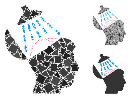 Brain washing composition of uneven elements in variable sizes and color hues, based on brain washing icon. Vector tremulant elements are organized into composition. Ilustração