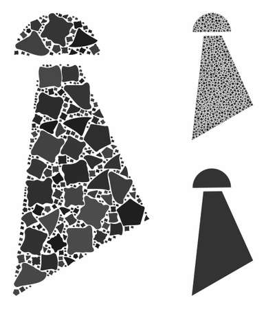 Spray mosaic of ragged elements in variable sizes and color tints, based on spray icon. Vector bumpy elements are composed into mosaic. Spray icons collage with dotted pattern.