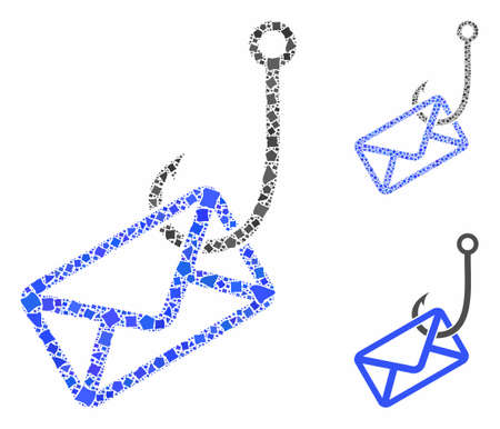 Mail phishing hook mosaic of tuberous pieces in variable sizes and color tinges, based on mail phishing hook icon. Vector unequal pieces are grouped into mosaic.