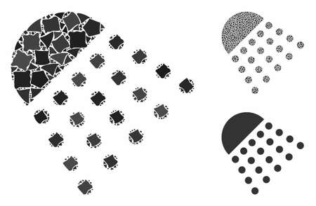 Spray tool mosaic of abrupt pieces in various sizes and color hues, based on spray tool icon. Vector abrupt pieces are united into illustration. Spray tool icons collage with dotted pattern.