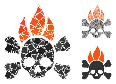 Death fire composition of rough elements in various sizes and shades, based on death fire icon. Vector rough items are grouped into collage. Death fire icons collage with dotted pattern.
