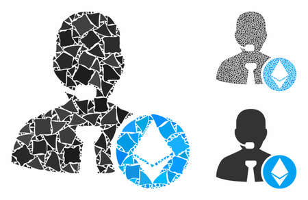 Ethereum operator manager composition of raggy elements in various sizes and color tones, based on Ethereum operator manager icon. Vector irregular elements are composed into collage.