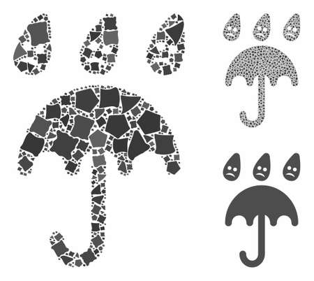 Sad rain umbrella composition of bumpy pieces in various sizes and color tinges, based on sad rain umbrella icon. Vector trembly pieces are united into composition. Ilustração