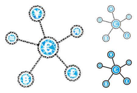 Euro financial network links composition of unequal items in various sizes and color tinges, based on Euro financial network links icon. Vector unequal items are combined into mosaic.