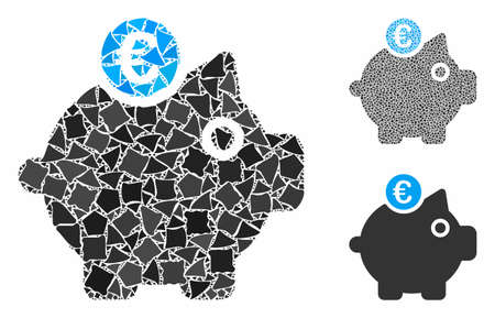 Euro piggy bank mosaic of tuberous items in different sizes and color hues, based on Euro piggy bank icon. Vector rough pieces are grouped into mosaic.