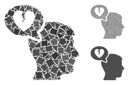 Divorce thinking man mosaic of humpy parts in different sizes and color tinges, based on divorce thinking man icon. Vector joggly pieces are organized into collage.