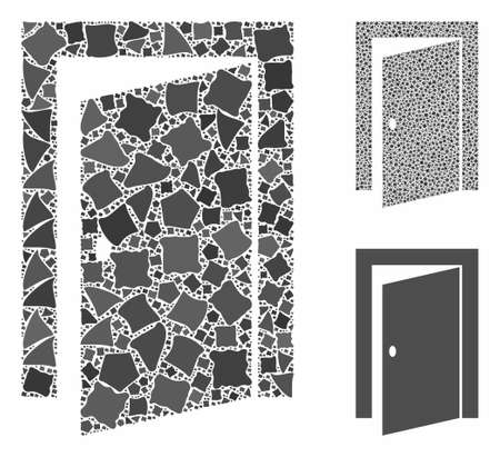 Door composition of ragged pieces in different sizes and shades, based on door icon. Vector tuberous pieces are united into collage. Door icons collage with dotted pattern. Illusztráció
