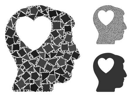 Love heart think mosaic of unequal items in variable sizes and color hues, based on love heart think icon. Vector abrupt pieces are organized into mosaic.