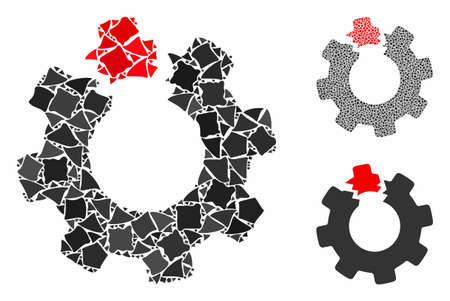 Broken cog mosaic of rough elements in different sizes and shades, based on broken cog icon. Vector rough pieces are grouped into mosaic. Broken cog icons collage with dotted pattern.
