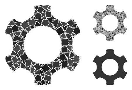 Gear mosaic of tremulant pieces in various sizes and color tinges, based on gear icon. Vector tremulant pieces are grouped into composition. Gear icons collage with dotted pattern.