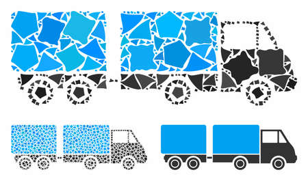 Trailer composition of trembly pieces in variable sizes and color tinges, based on trailer icon. Vector abrupt pieces are composed into collage. Trailer icons collage with dotted pattern. Stock Vector - 133382471