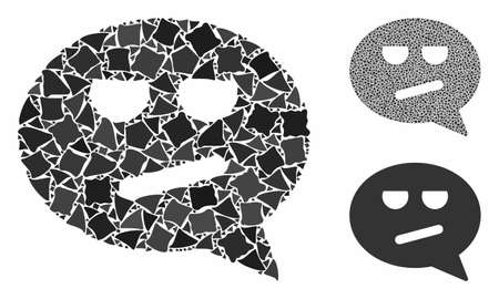 Bored smiley message mosaic of raggy pieces in variable sizes and color tones, based on bored smiley message icon. Vector tuberous pieces are united into collage.