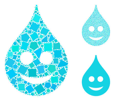 Smile drop composition of irregular parts in variable sizes and color hues, based on smile drop icon. Vector joggly parts are composed into collage. Smile drop icons collage with dotted pattern. Illusztráció