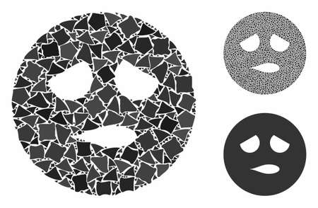 Disturb smiley mosaic of joggly pieces in variable sizes and color tinges, based on disturb smiley icon. Vector joggly items are combined into mosaic. Disturb smiley icons collage with dotted pattern.