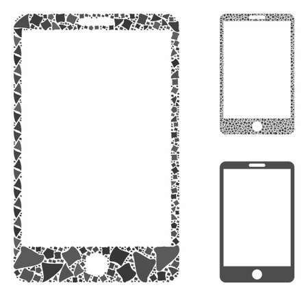 Smartphone mosaic of tremulant items in various sizes and color tinges, based on smartphone icon. Vector joggly elements are combined into mosaic. Smartphone icons collage with dotted pattern.