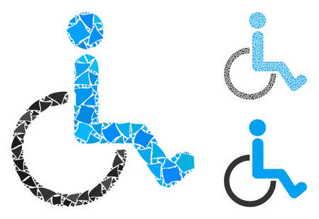 Disabled person mosaic of unequal parts in various sizes and color hues, based on disabled person icon. Vector unequal pieces are combined into mosaic. Ilustrace